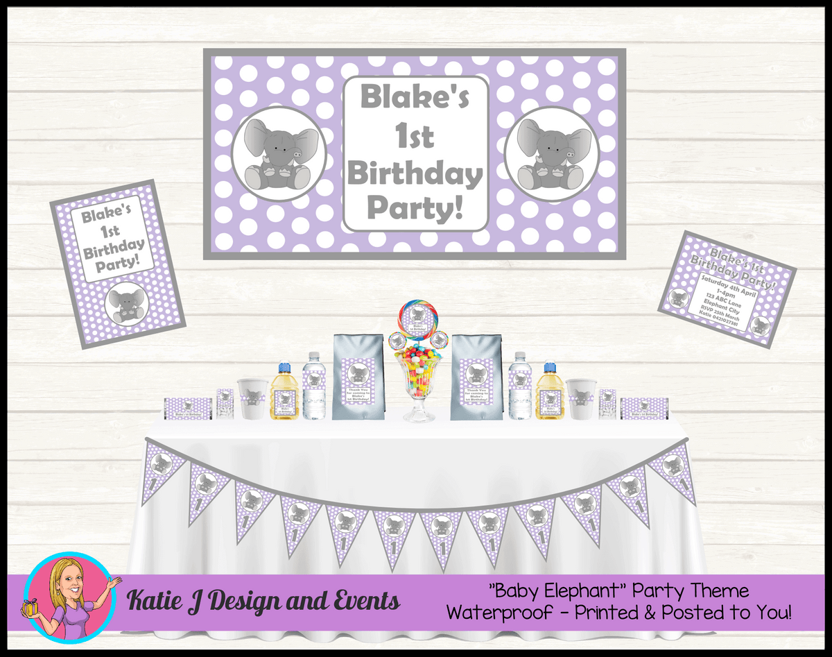 Purple Polka Dot Elephant Party Packs Decorations Supplies Australia