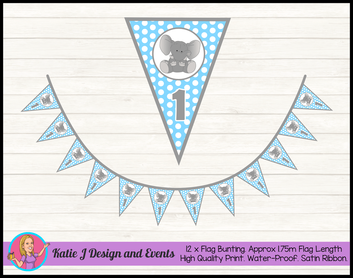 Blue Polka Dot Elephant Personalised Birthday Party Flag Bunting