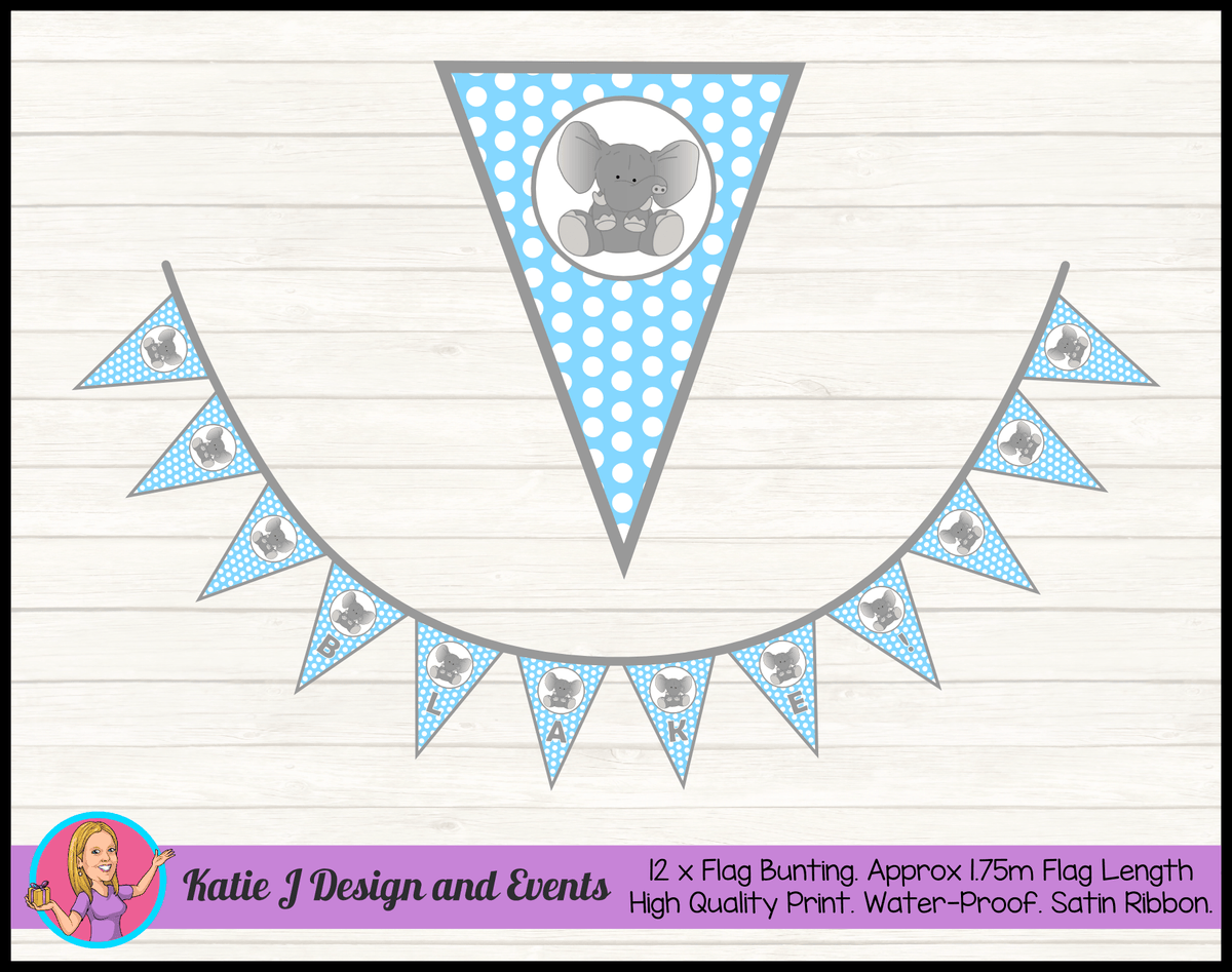 Blue Polka Dot Elephant Personalised Birthday Party Flag Bunting Name