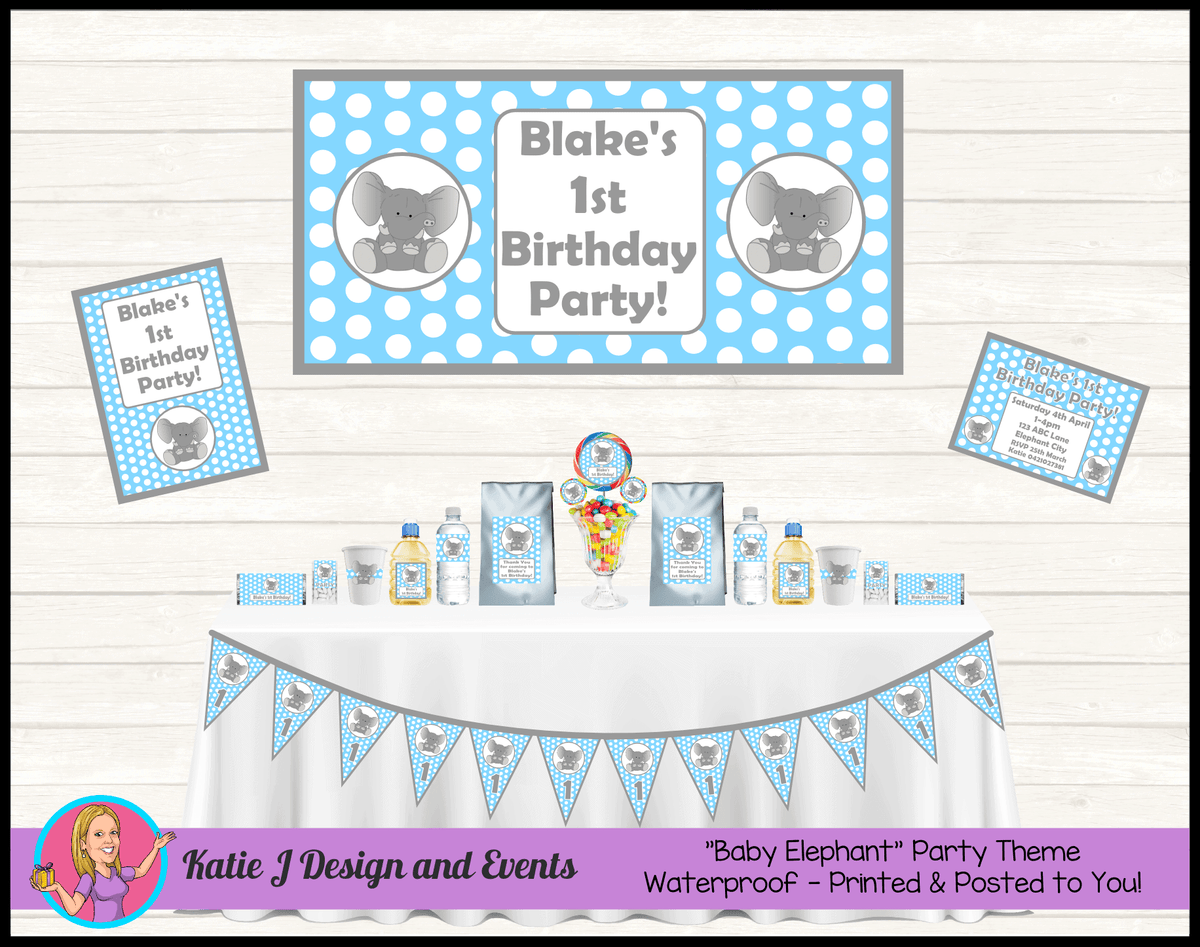 Blue Polka Dot Elephant Party Packs Decorations Supplies Australia