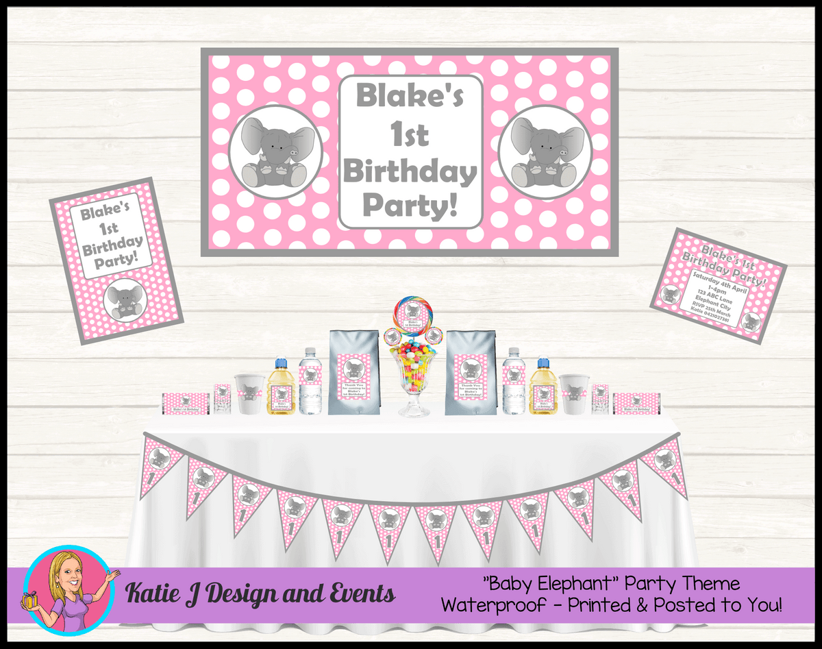 Pink Polka Dot Elephant Party Packs Decorations Supplies Australia