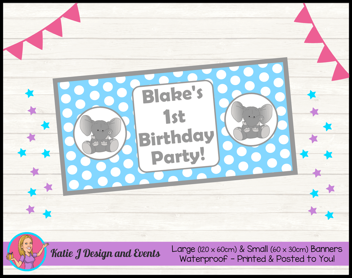 Blue Polka Dot Elephant Personalised Birthday Party Banners