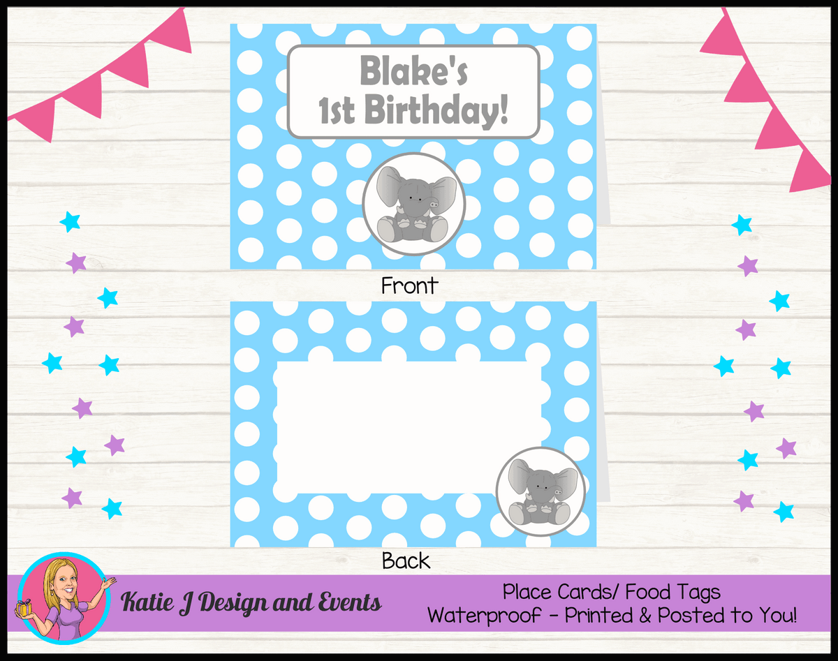 Blue Polka Dot Elephant Personalised Birthday Party Place Cards