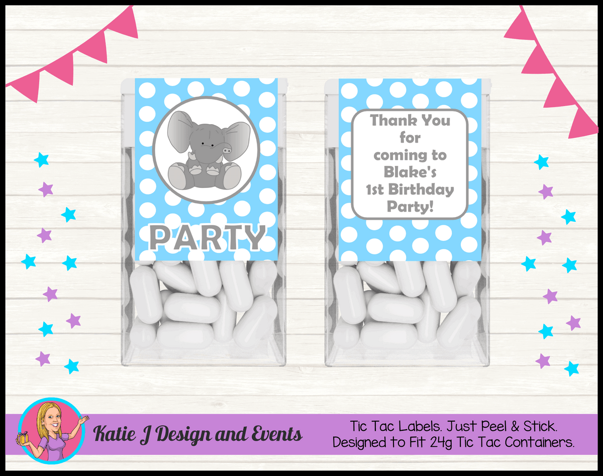 Blue Polka Dot Elephant Personalised Birthday Party Tic Tacs Mint Labels