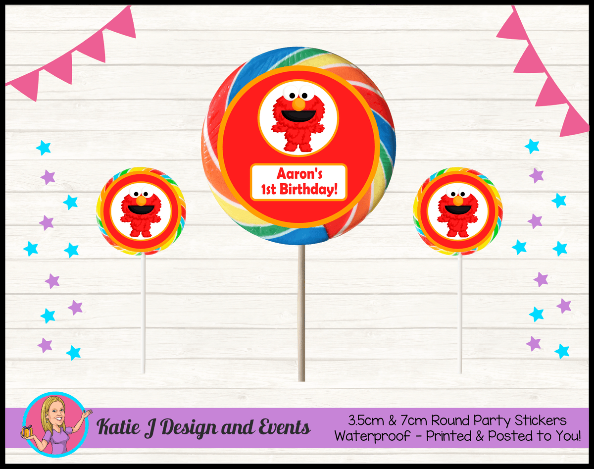 Personalised Baby Elmo Birthday Party Round Lollipop Stickers