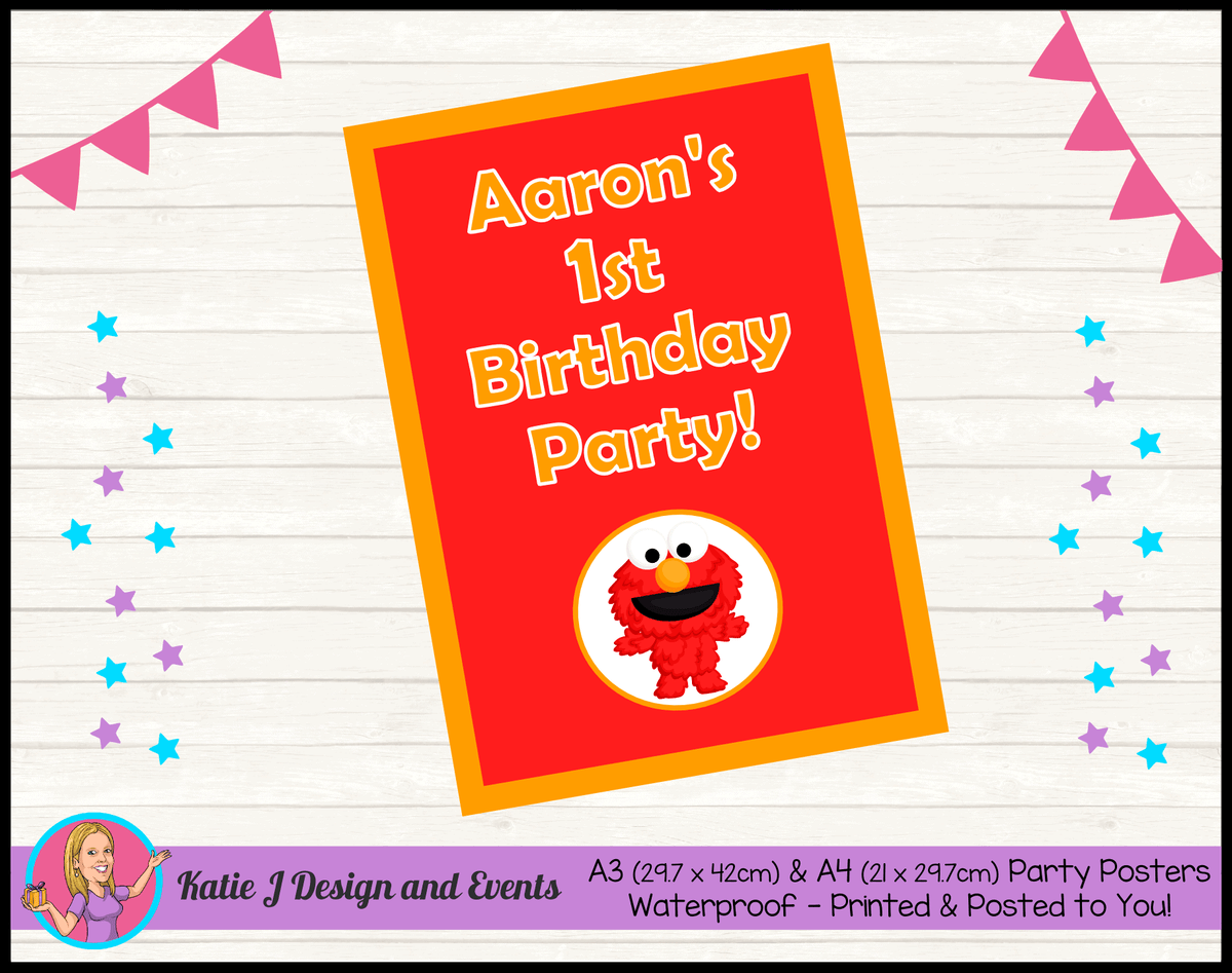 Personalised Baby Elmo Birthday Party Poster
