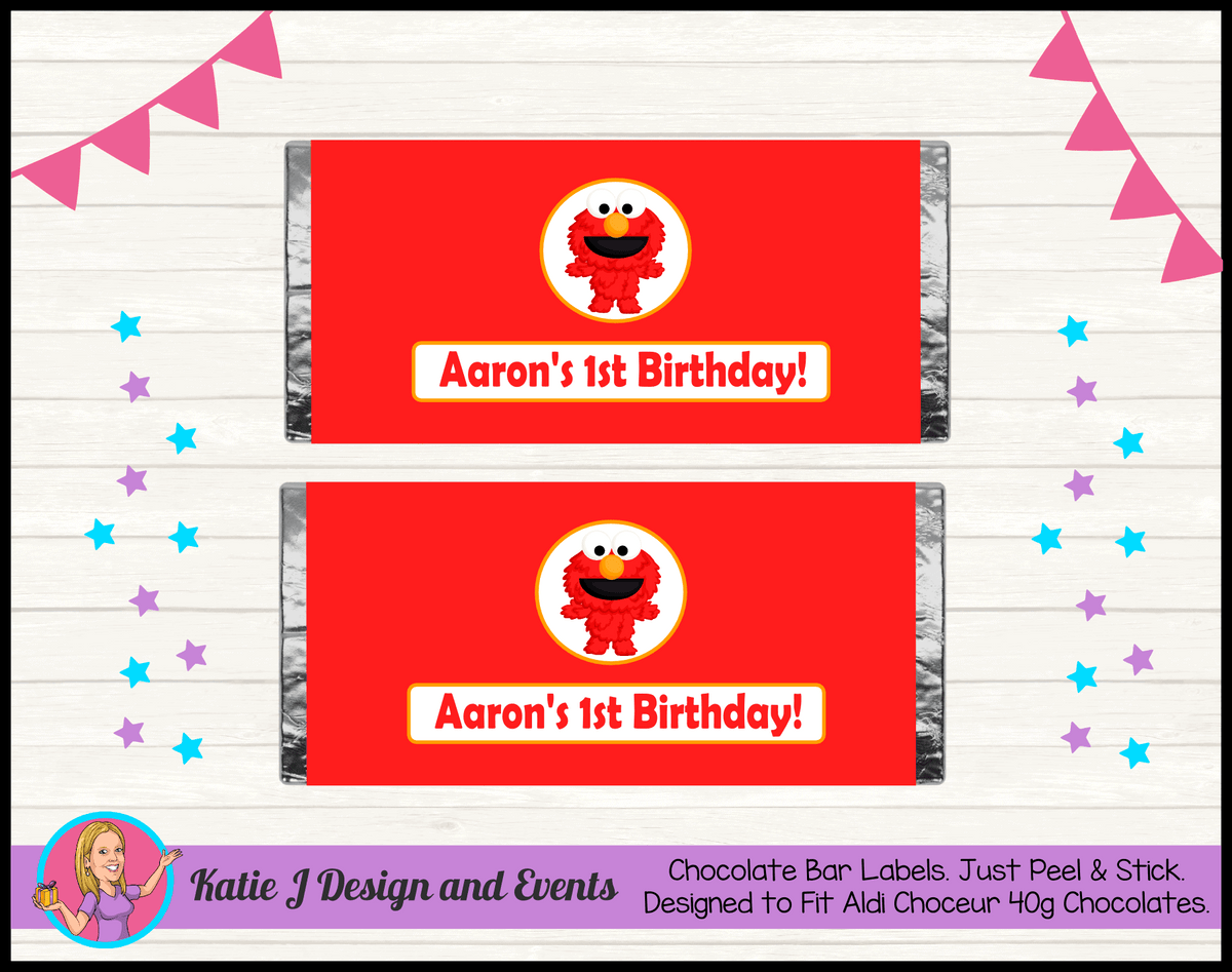 Personalised Baby Elmo Birthday Party Chocolate Labels Wrappers