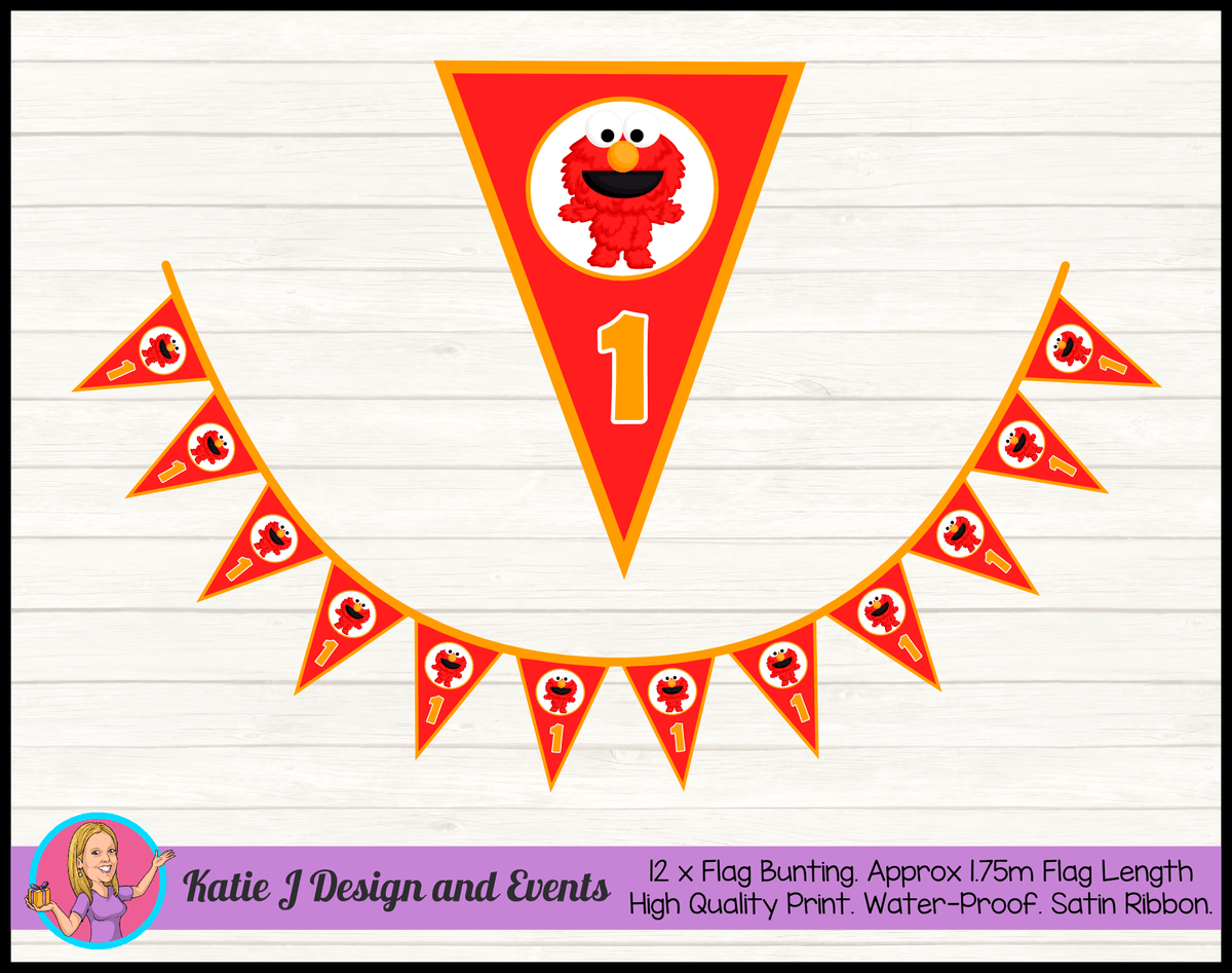 Personalised Baby Elmo Birthday Party Flag Bunting