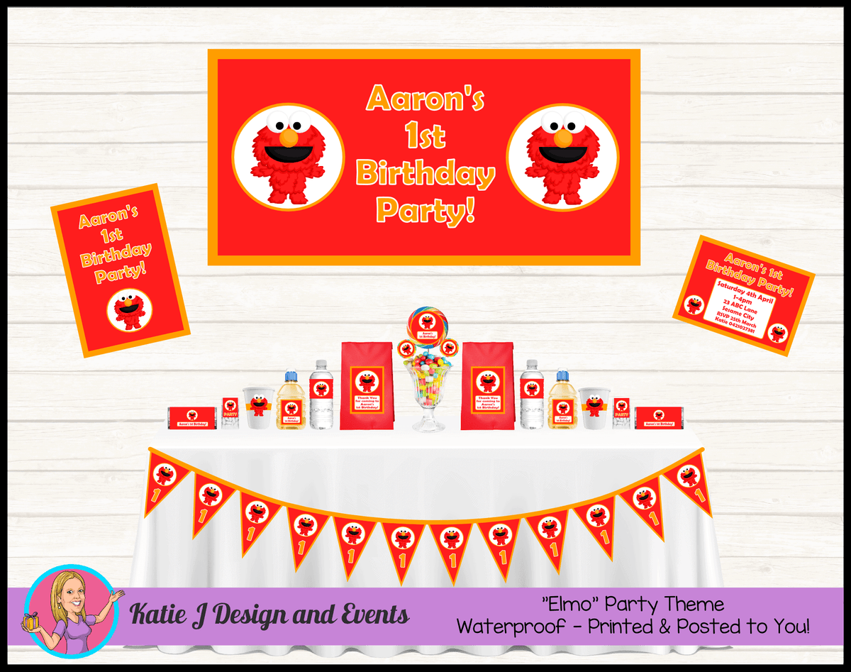 Personalised Baby Elmo Party Packs Decorations Supplies