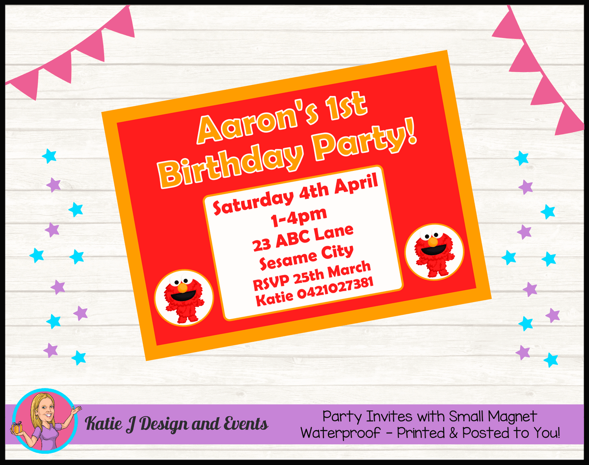 Personalised Baby Elmo Birthday Party Invites Invitations