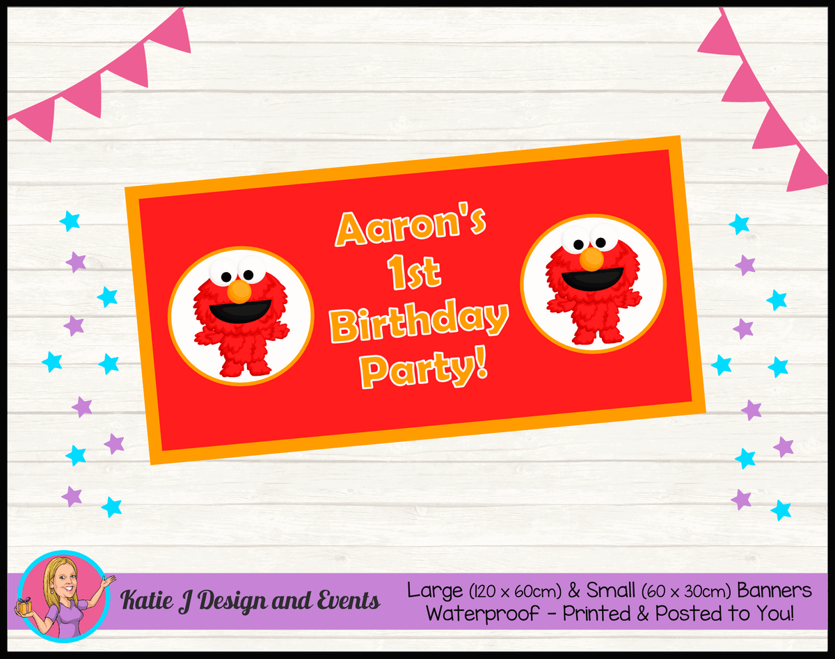 Personalised Baby Elmo Birthday Party Banners