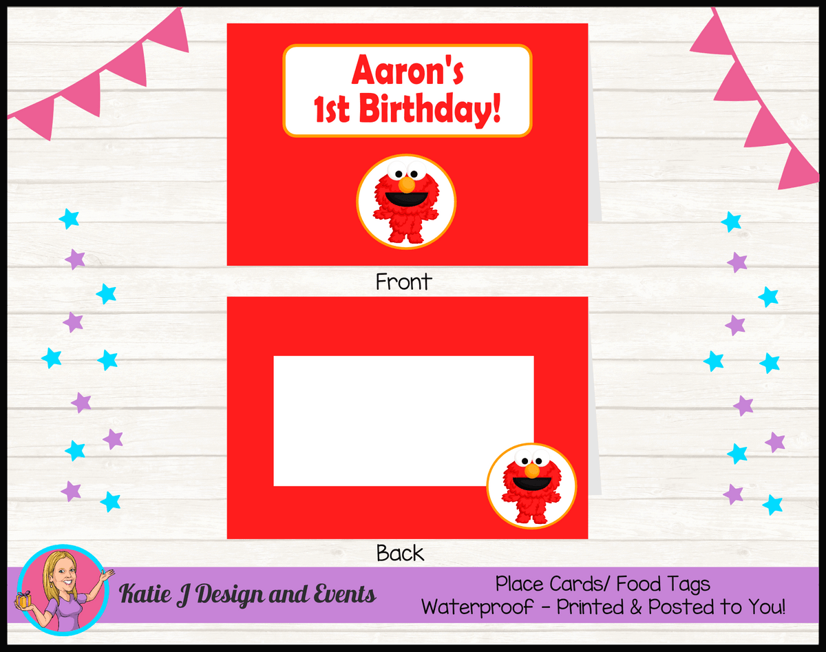 Personalised Baby Elmo Birthday Party Place Cards