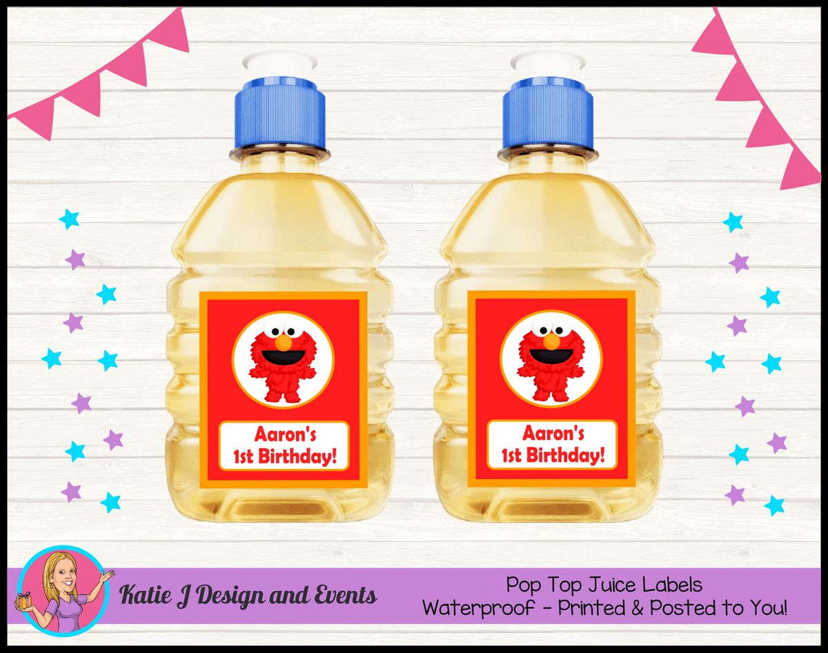 Personalised Baby Elmo Birthday Party Pop Top Juice Labels
