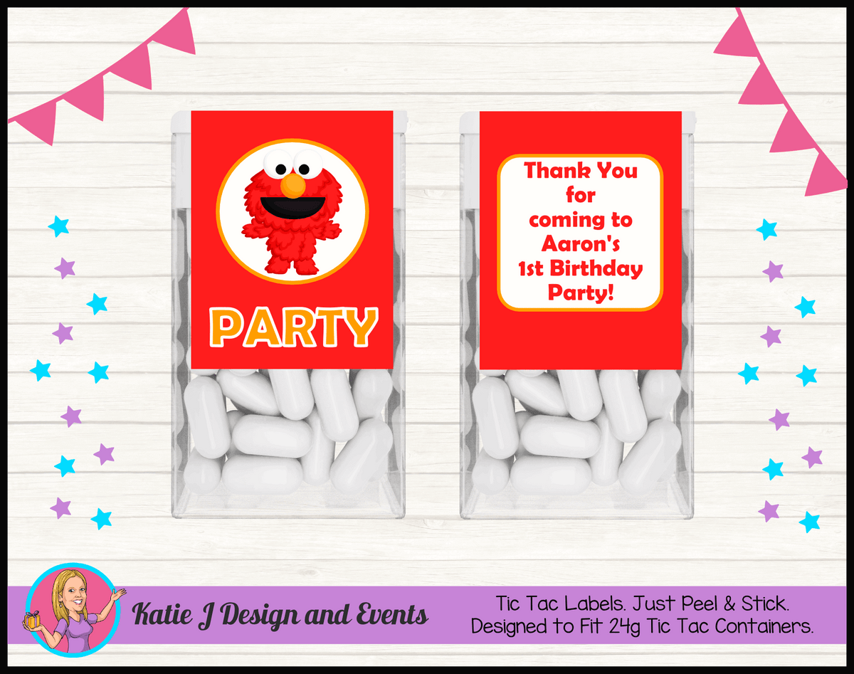 Personalised Baby Elmo Birthday Party Tic Tac Mint Labels