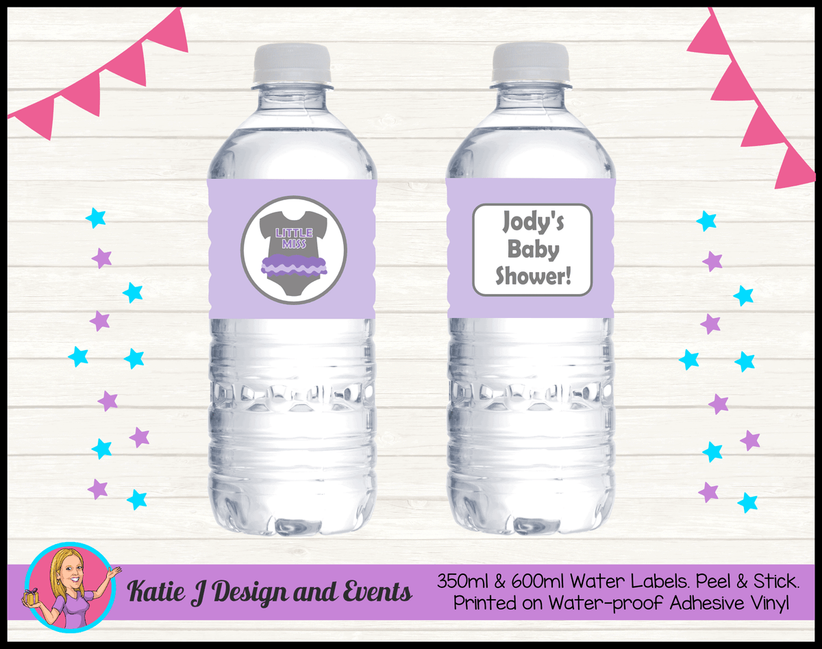 Girls Purple Onesie Personalised Baby Shower Water Bottle Labels