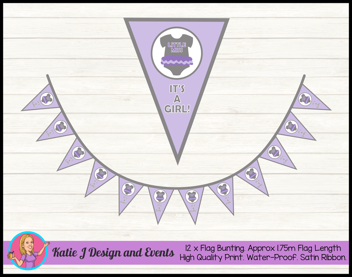 Girls Purple Onesie Personalised Baby Shower Flag Bunting
