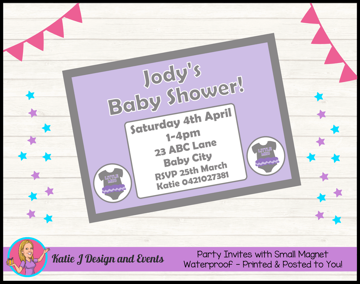 Girls Purple Onesie Personalised Baby Shower Invites Invitations