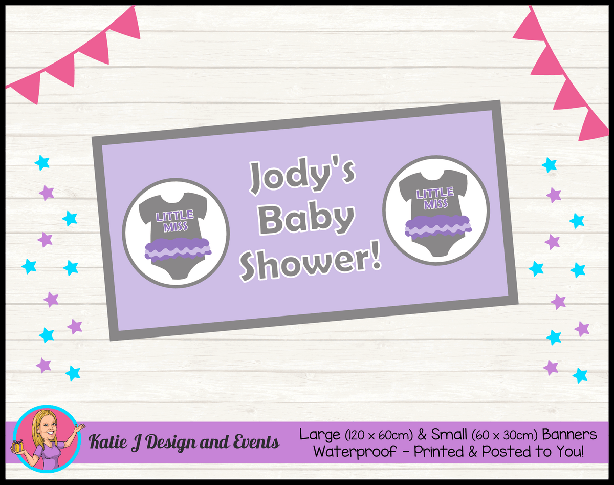 Girls Purple Onesie Personalised Baby Shower Banners
