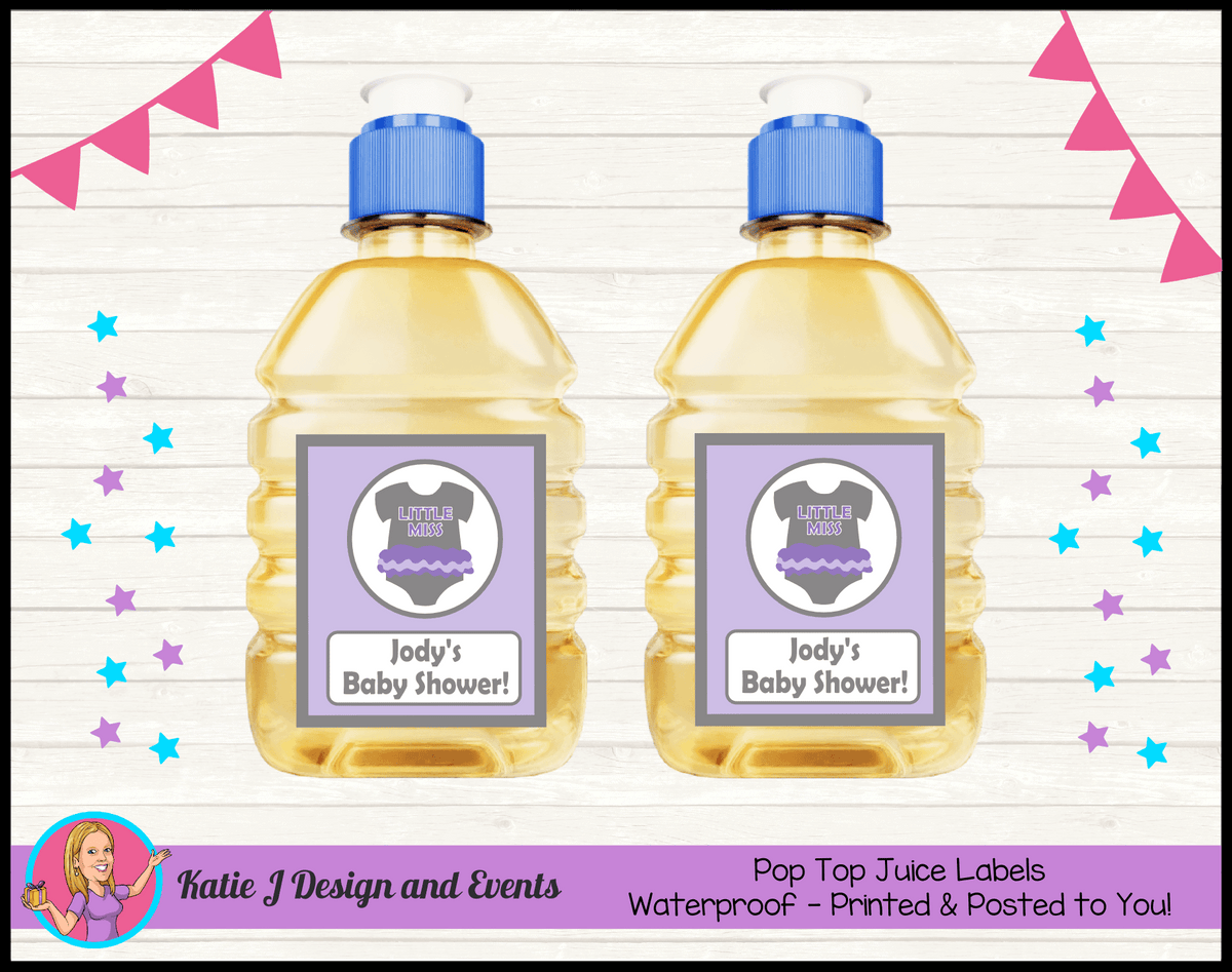 Girls Purple Onesie Personalised Baby Shower Pop Top Juice Labels