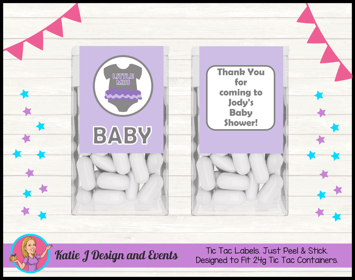 Girls Purple Onesie Personalised Baby Shower Tic Tac Mint Labels Favours