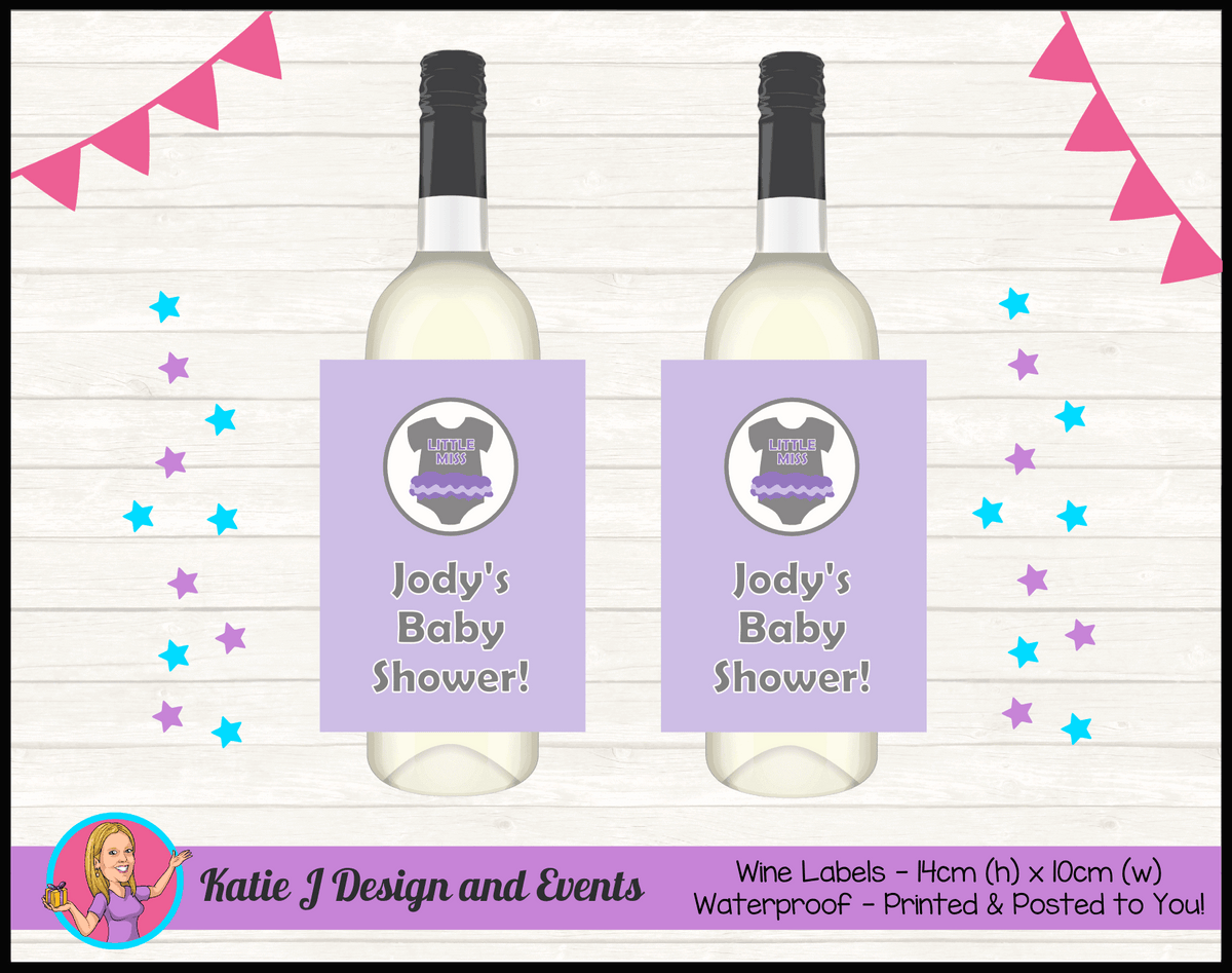 Girls Purple Onesie Personalised Baby Shower Wine Labels