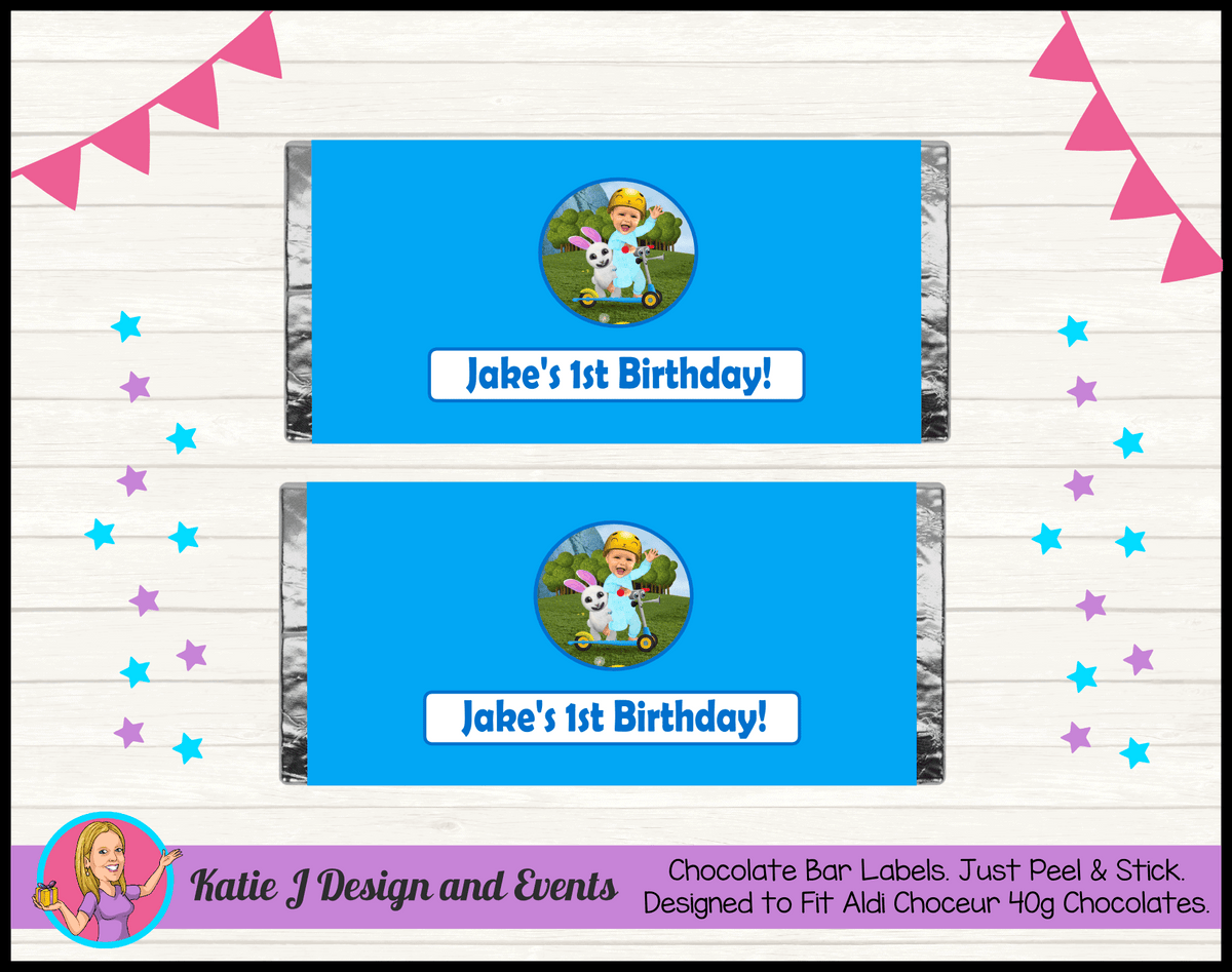 Baby Jake Personalised Birthday Party Chocolate Labels Wrappers
