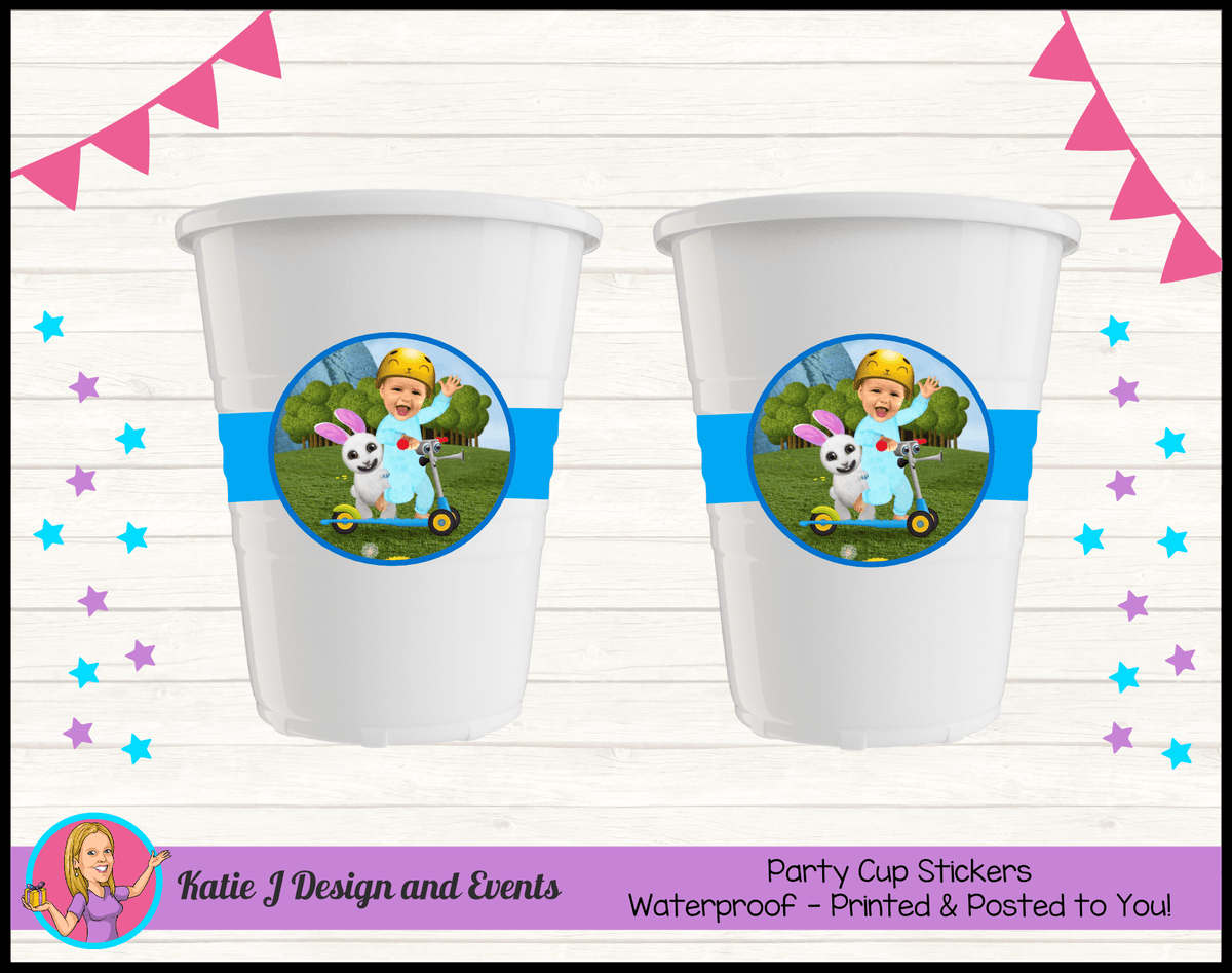 Baby Jake Personalised Birthday Party Cup Stickers Cups