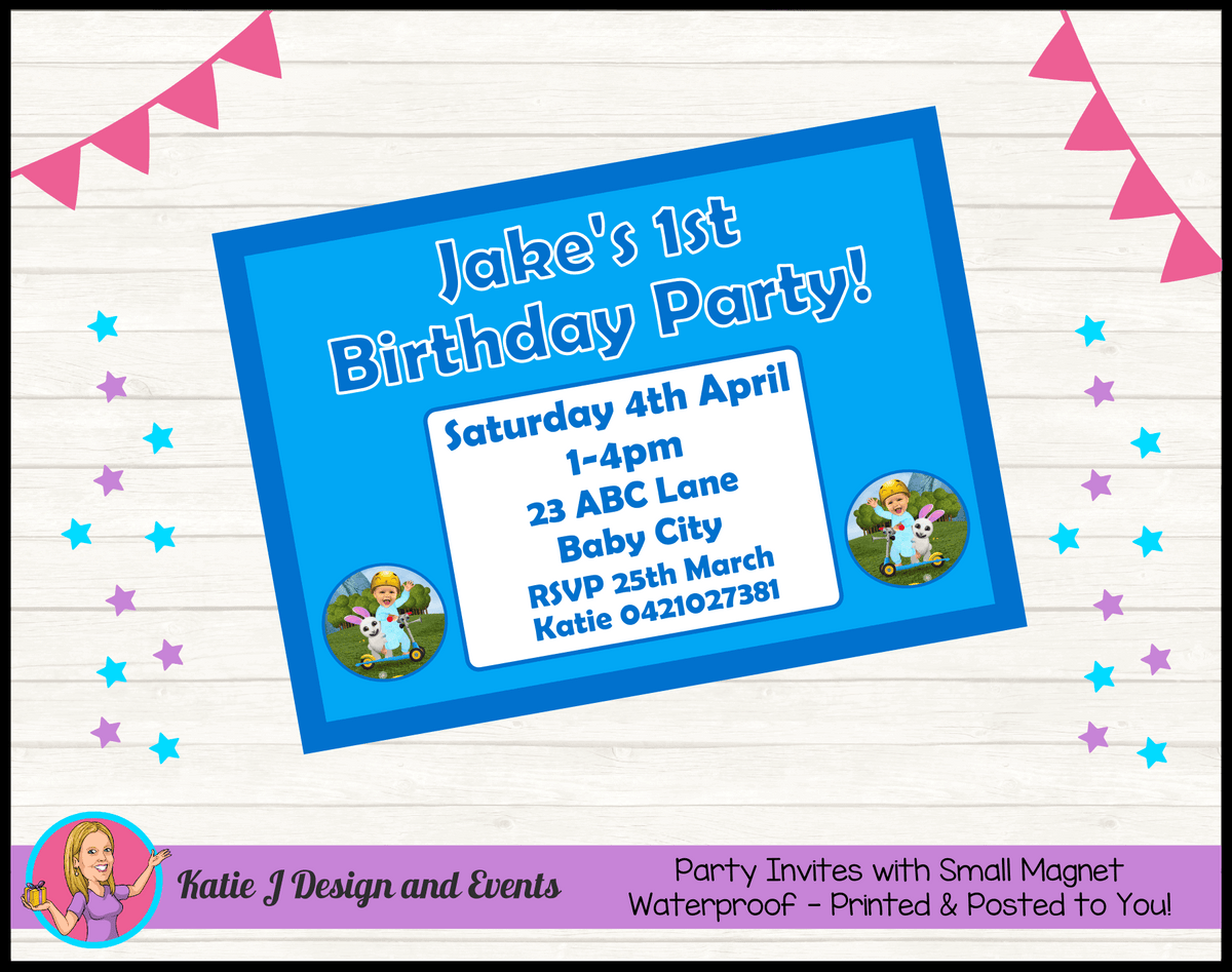 Baby Jake Personalised Birthday Party Invites Invitations