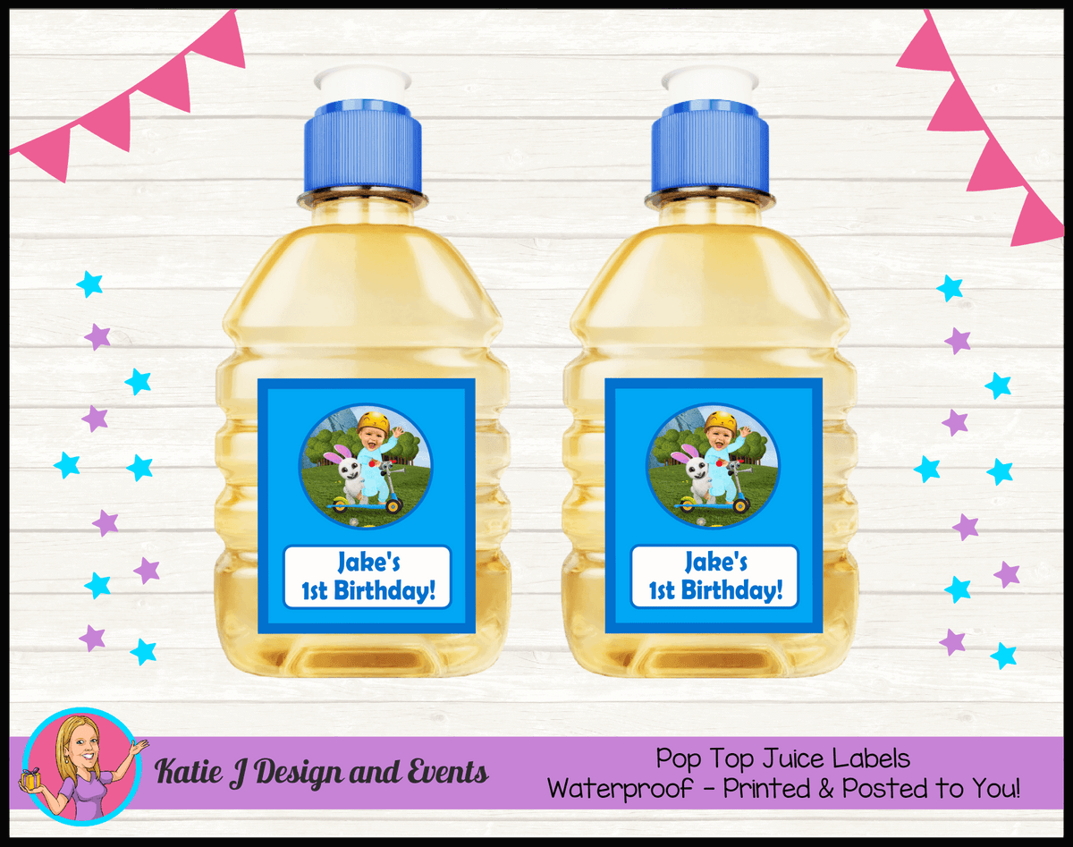 Baby Jake Personalised Birthday Party Pop Top Juice Labels