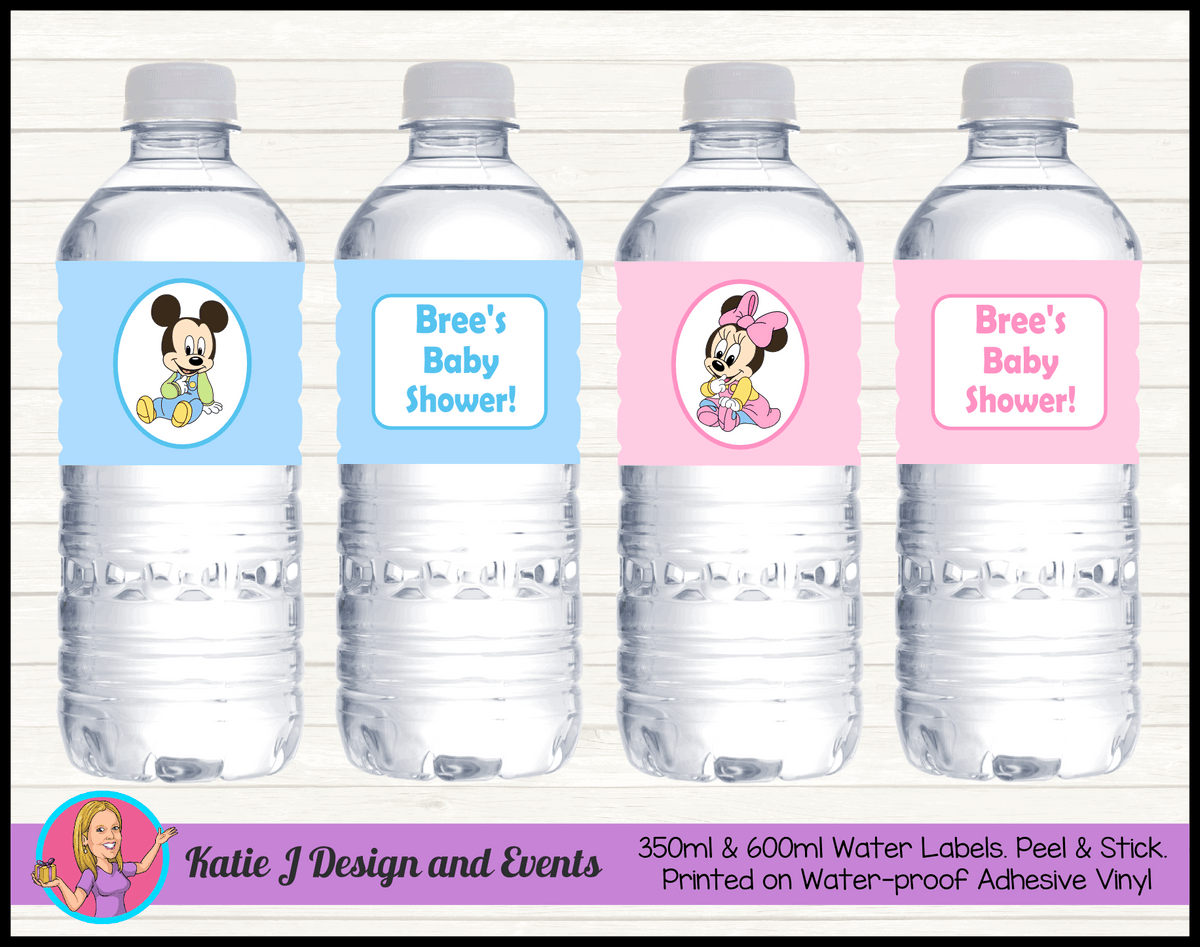 Minnie & Mickey Personalised Baby Shower Water Bottle Labels