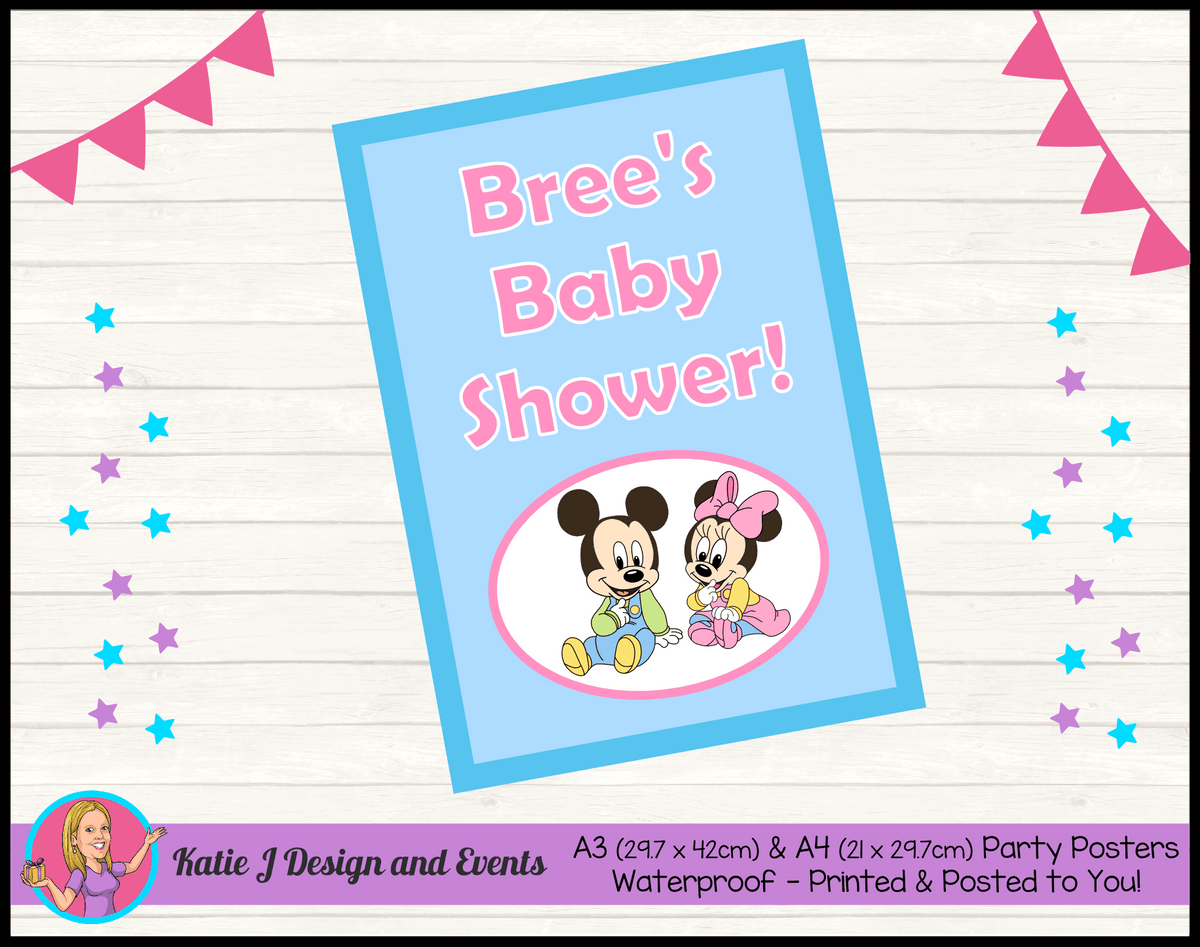 Minnie & Mickey Personalised Baby Shower Posters