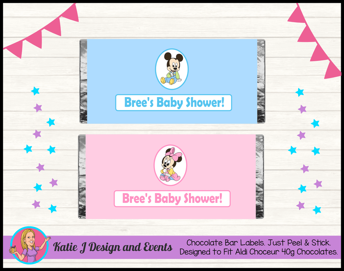 Minnie & Mickey Personalised Baby Shower Chocolate Labels Wrappers