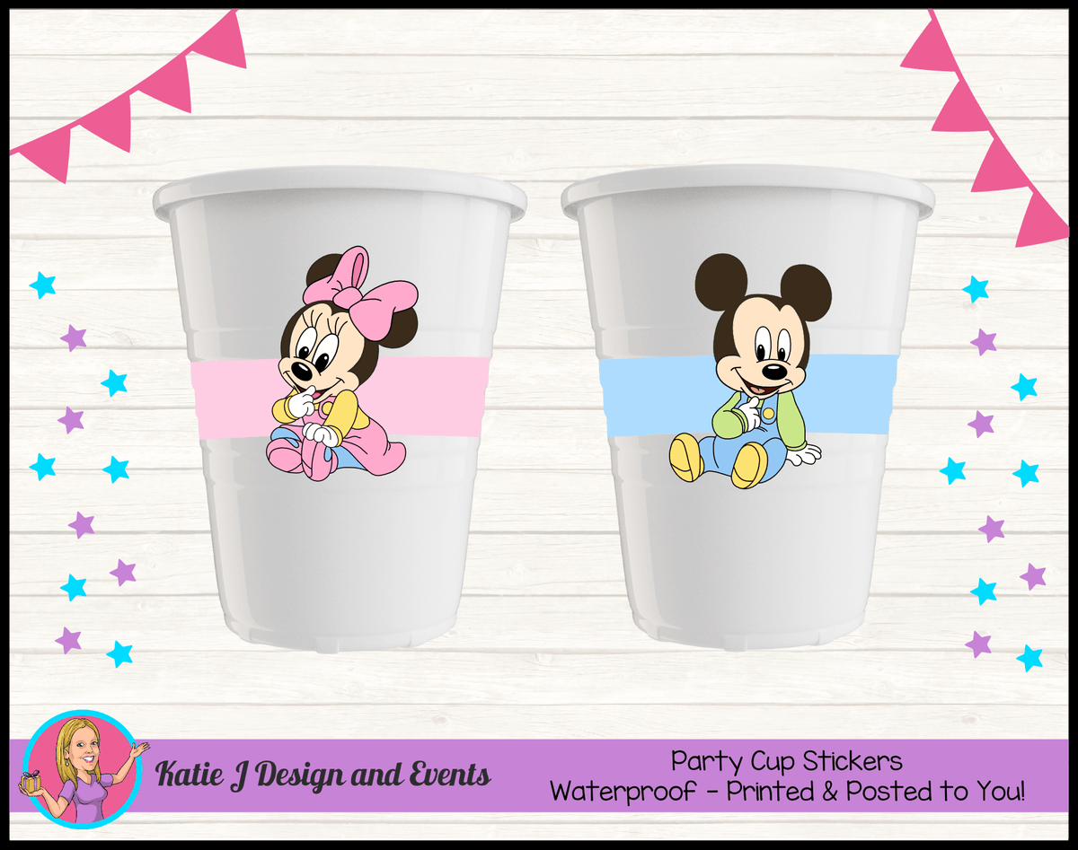 Minnie & Mickey Personalised Baby Shower Cup Stickers Cups