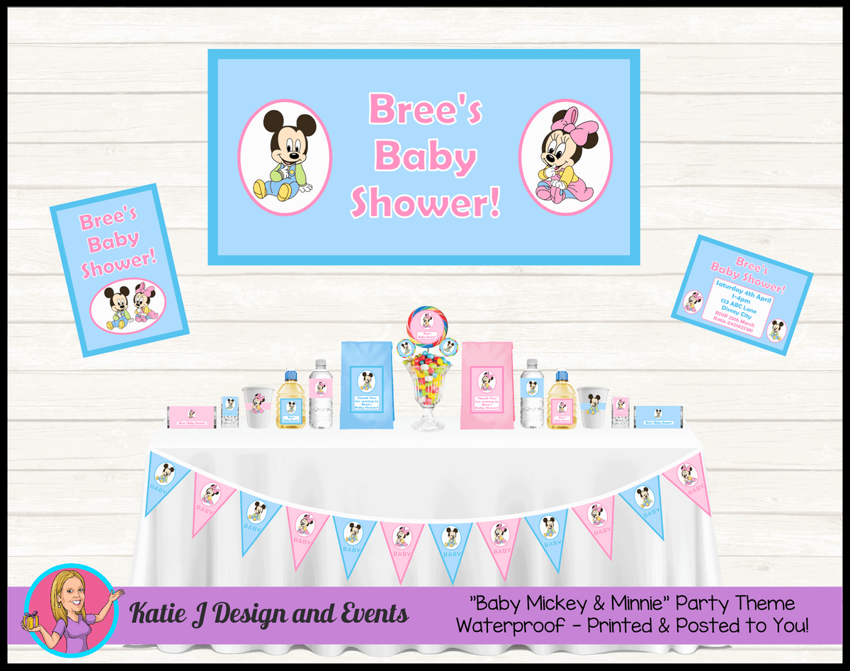 Personalised Baby Minnie & Mickey Shower Decorations Supplies Australia