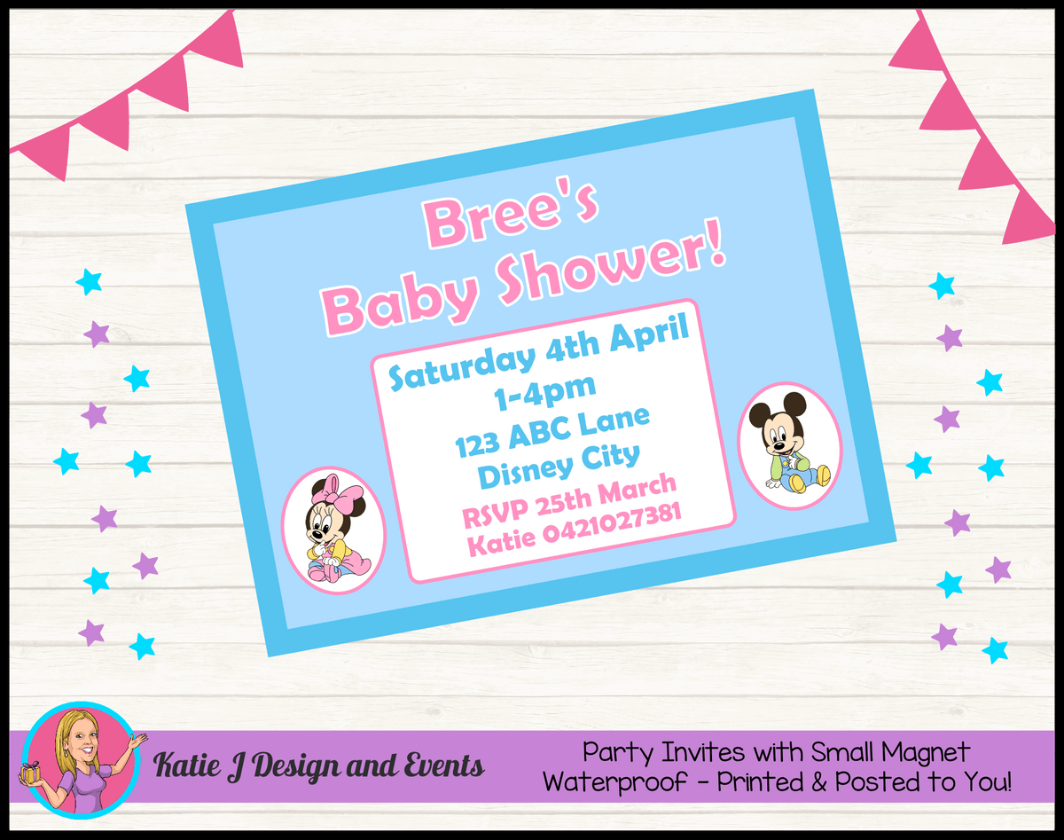 Minnie & Mickey Personalised Baby Shower Invites Invitations