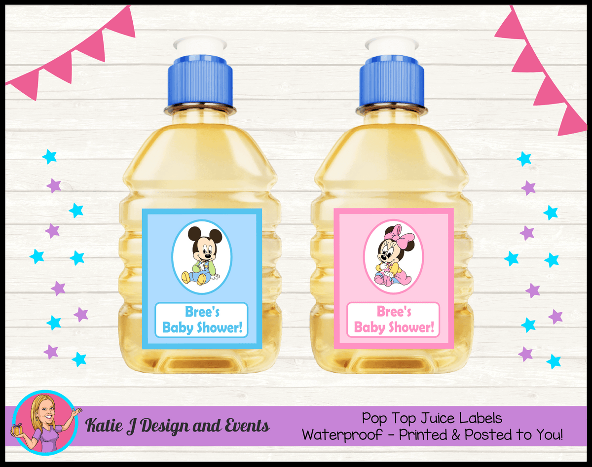 Minnie & Mickey Personalised Baby Shower Pop Top Juice Labels