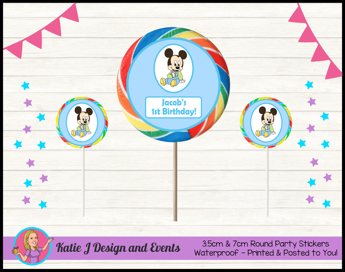 Baby Mickey Personalised Birthday Party Round Lollipop Stickers