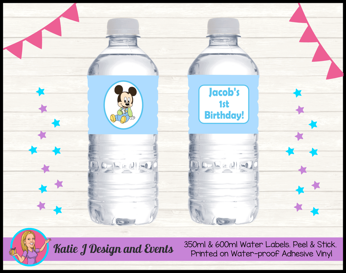Baby Mickey Personalised Birthday Party Water Bottle Labels