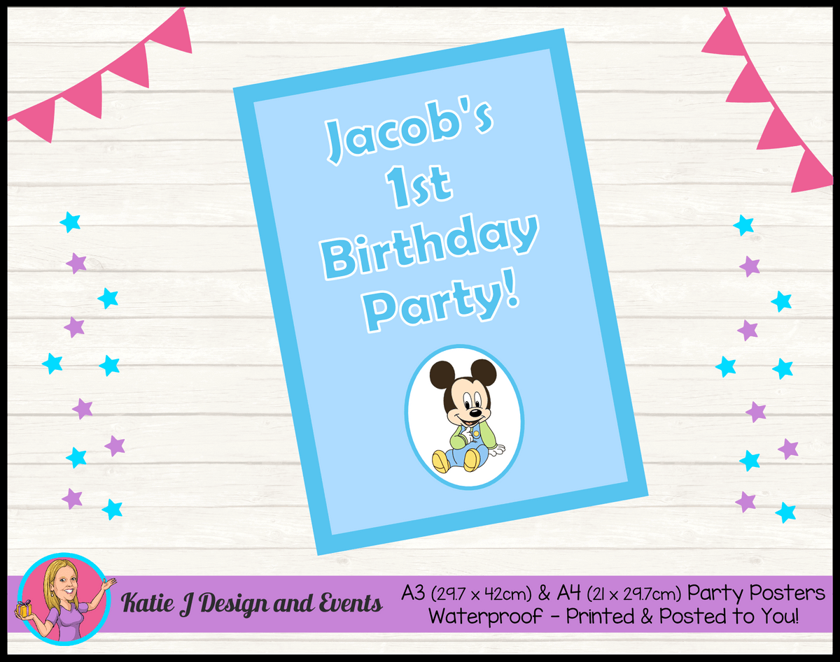 Baby Mickey Personalised Birthday Party Posters