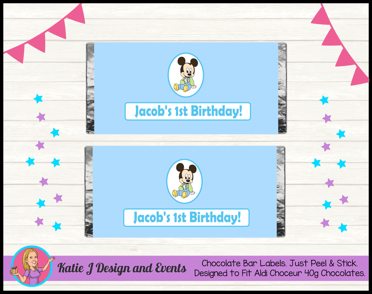 Baby Mickey Personalised Birthday Party Chocolate Labels Wrappers