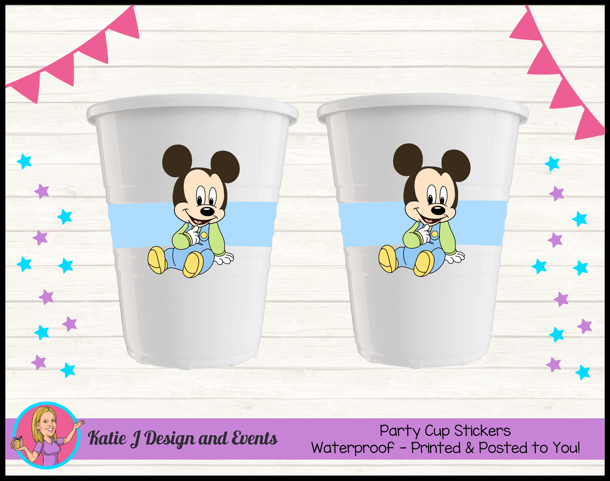 Baby Mickey Personalised Birthday Party Cup Stickers Cups