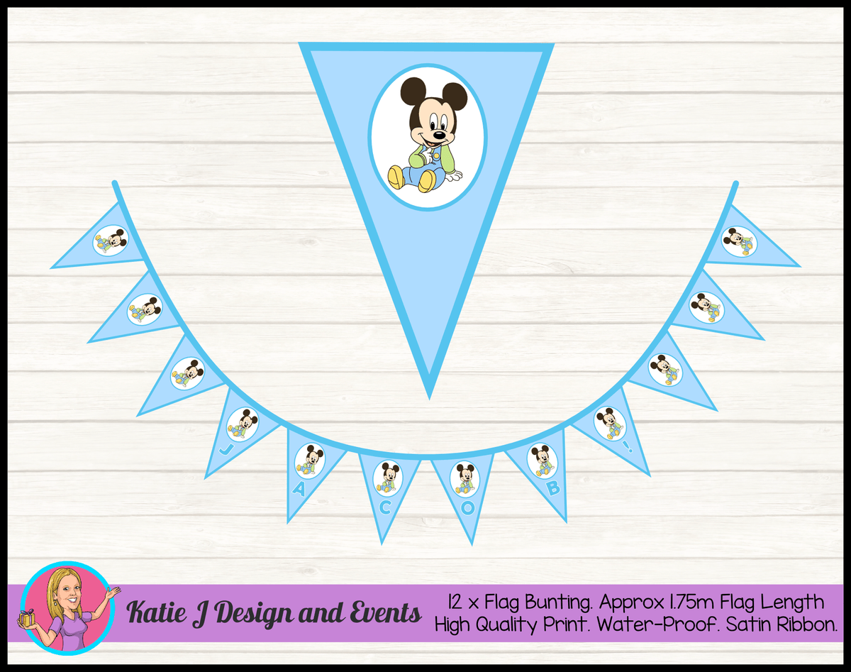 Baby Mickey Personalised Birthday Party Flag Bunting Name