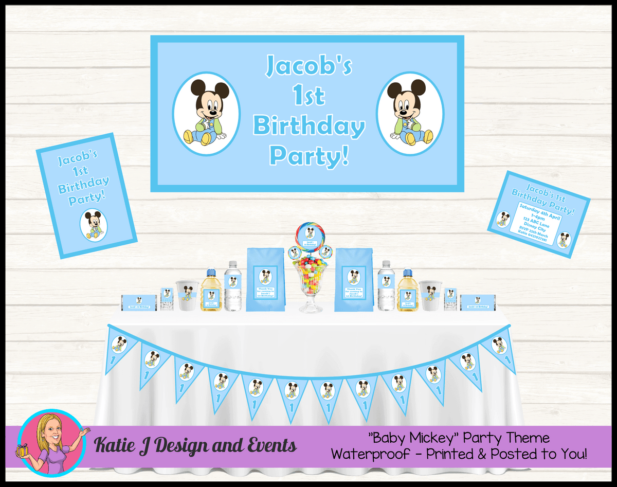 Personalised Baby Mickey Birthday Party Packs Decorations Supplies Australia
