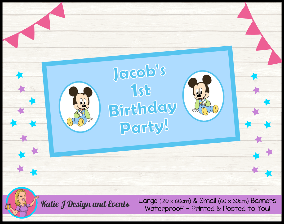 Baby Mickey Personalised Birthday Party Banners