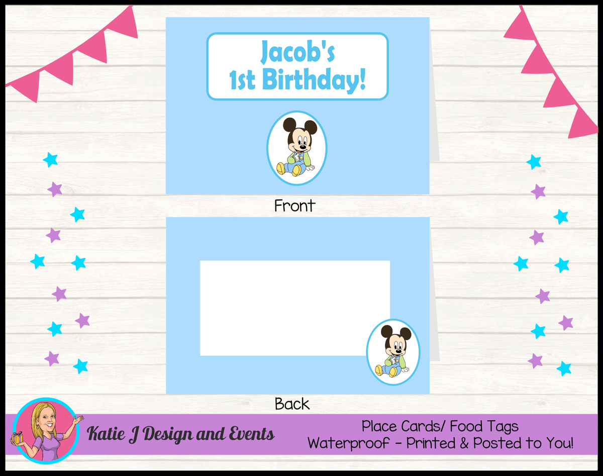 Baby Mickey Personalised Birthday Party Place Cards