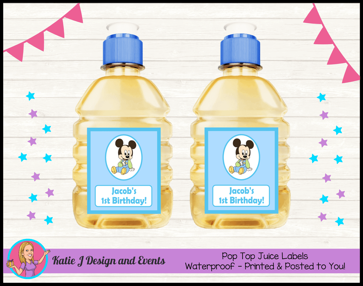 Baby Mickey Personalised Birthday Party Pop Top Juice Labels