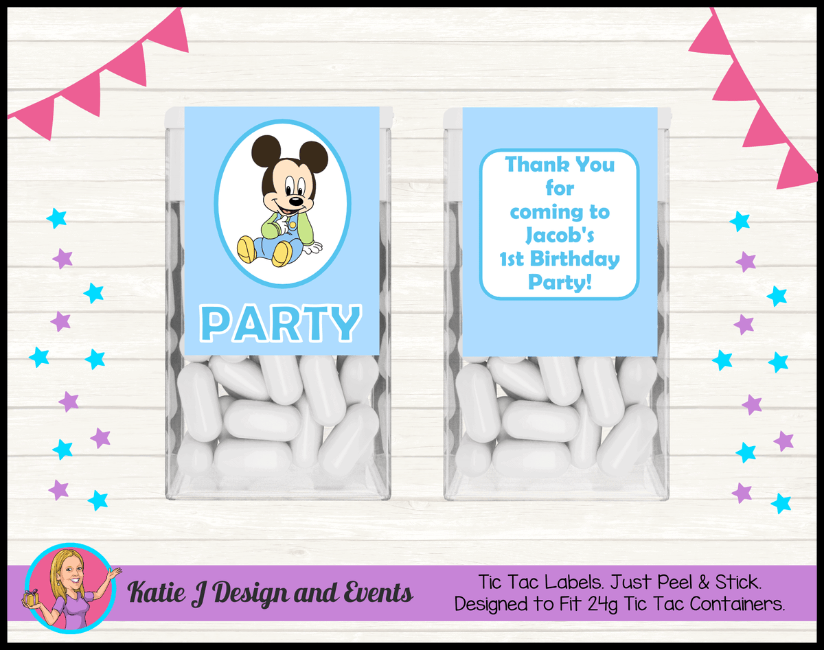 Baby Mickey Personalised Birthday Party Tic Tac Mint Labels