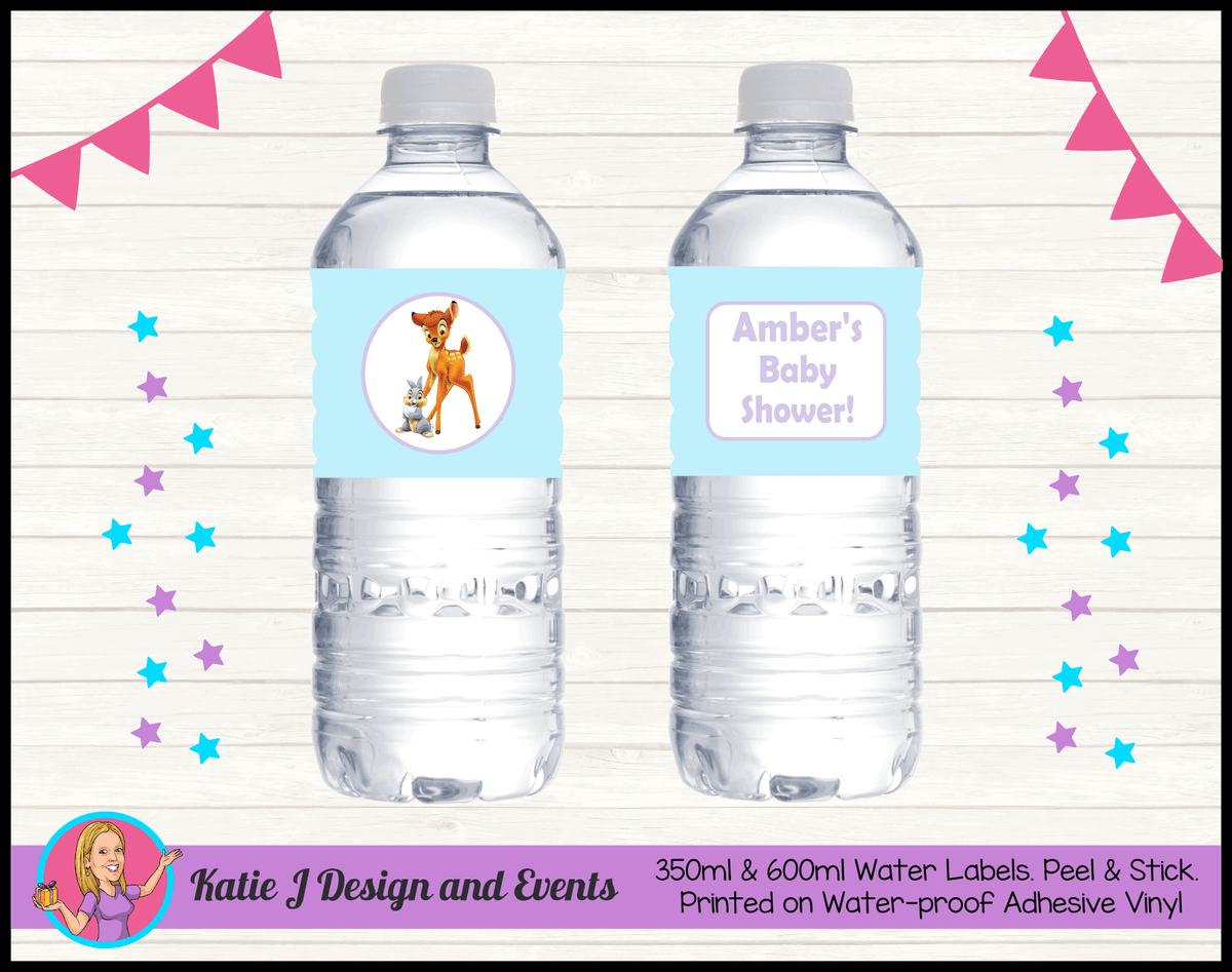 Bambi Personalised Baby Shower Water Bottle Labels