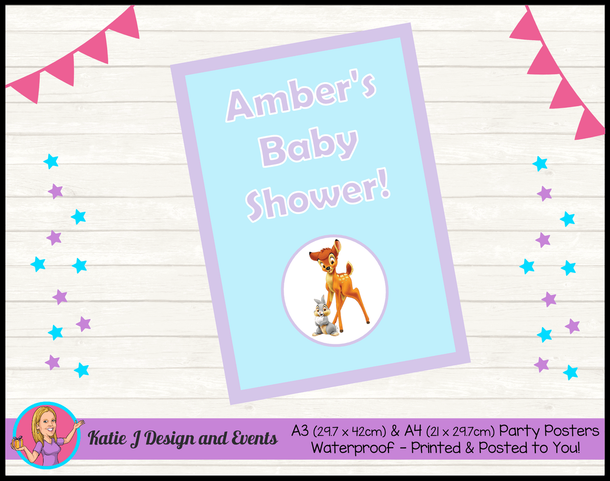 Bambi Personalised Baby Shower Posters