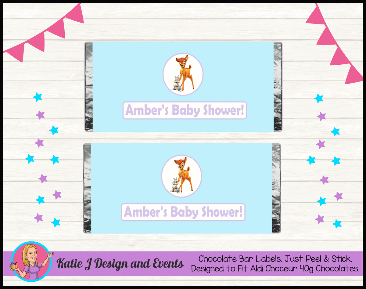 Bambi Personalised Baby Shower Chocolate Labels Wrappers